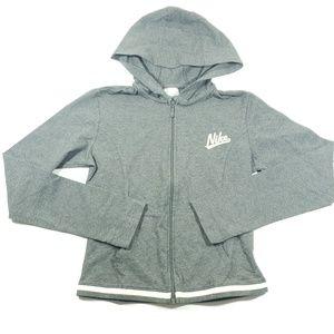 Nike girls youth Gray and white zip up hoodie sm